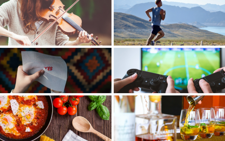 Pictures of hobbies and activities, including violin, running and video games
